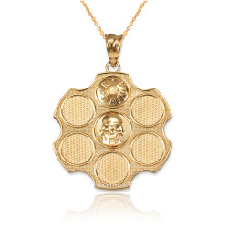 Yellow Gold Russian Roulette Pendant Necklace