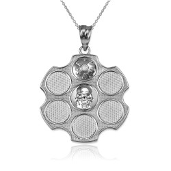 White Gold Russian Roulette Pendant Necklace