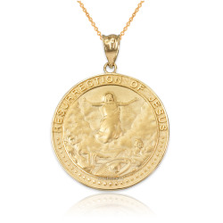 Yellow Gold Resurrection of Jesus Round Medallion Pendant Necklace