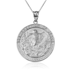 White Gold Resurrection of Jesus Round Medallion Pendant Necklace