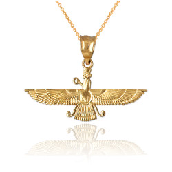 Yellow Gold Farvahar Womens Pendant Necklace