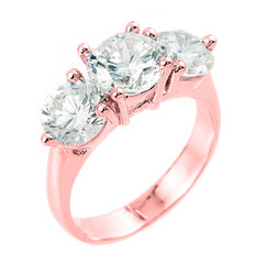 10k Rose Gold 3-Stone Cubic Zirconia Engagement Wedding Ring