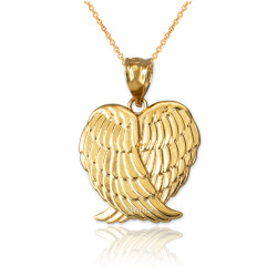 Yellow Gold Angel Wings Pendant Necklace
