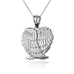 White Gold Angel Wings Pendant Necklace