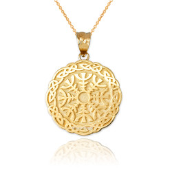 Yellow Gold Celtic Knots Viking Mandala Pendant Necklace