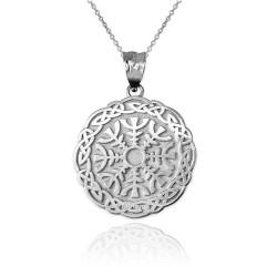 White Gold Celtic Knots Viking Mandala Pendant Necklace