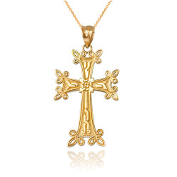 Yellow Gold Armenian Reversible Cross Pendant Necklace