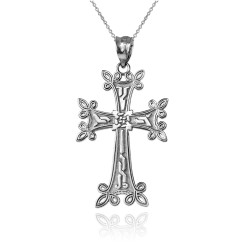 Sterling Silver Armenian Reversible Cross Pendant Necklace