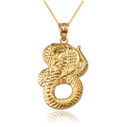Yellow Gold King Cobra Snake Pendant Necklace