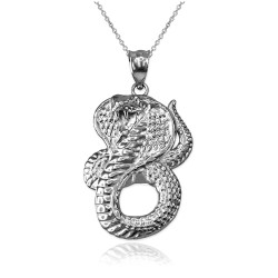 White Gold King Cobra Snake Pendant Necklace