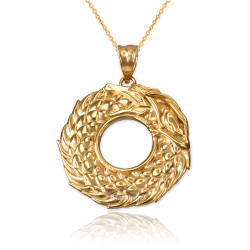 Yellow Gold Ouroboros Dragon Pendant Necklace