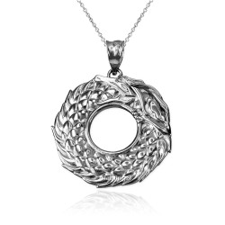 White Gold Ouroboros Dragon Pendant Necklace