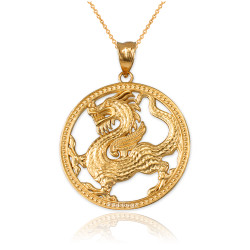 Yellow Gold Chinese Dragon Open Medallion Pendant Necklace