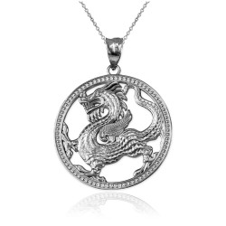 White Gold Chinese Dragon Open Medallion Pendant Necklace