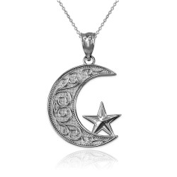 White Gold Islamic Crescent Moon Pendant Necklace