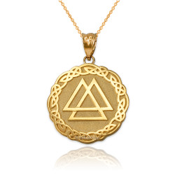 Yellow Gold Celtic Valknut Viking Warrior Pendant Necklace