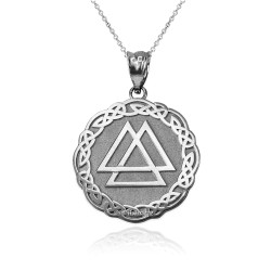 White Gold Celtic Valknut Viking Warrior Pendant Necklace