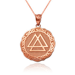 Rose Gold Celtic Valknut Viking Warrior Pendant Necklace
