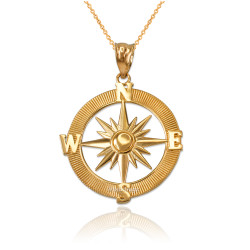 Yellow Gold Compass Pendant Necklace