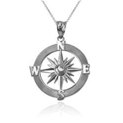 White Gold Compass Pendant Necklace