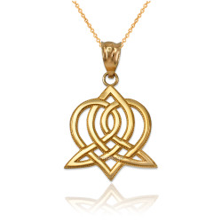 Yellow Gold Celtic Heart Pendant Necklace