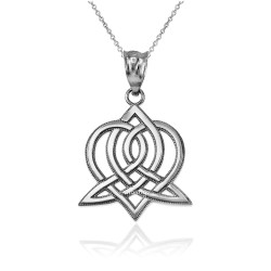 White Gold Celtic Heart Pendant Necklace