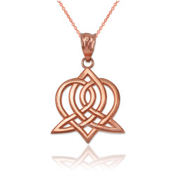 Rose Gold Celtic Heart Pendant Necklace