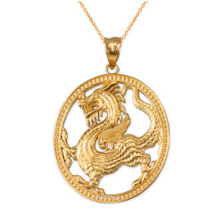 Yellow Gold Chinese Dragon Oval Medallion Pendant Necklace