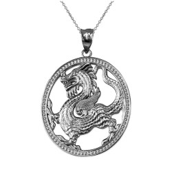 Sterling Silver Chinese Dragon Oval Medallion Pendant Necklace