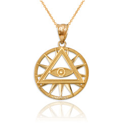 Yellow Gold Eye of Providence Illuminati Charm Necklace