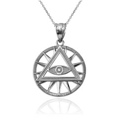 White Gold Eye of Providence Illuminati Charm Necklace