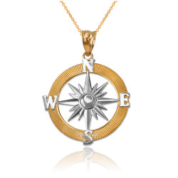 Two-Tone Yellow Gold Compass Pendant Necklace