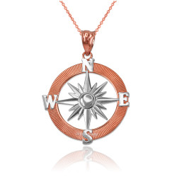 Two-Tone Rose Gold Compass Pendant Necklace