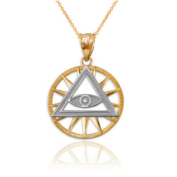 Two-Tone Yellow Gold Eye of Providence Illuminati Charm Necklace