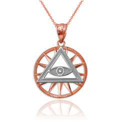 Two-Tone Rose Gold Eye of Providence Illuminati Charm Necklace