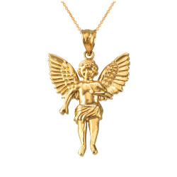 Yellow Gold Cherub Guardian Angel Pendant Necklace (L)