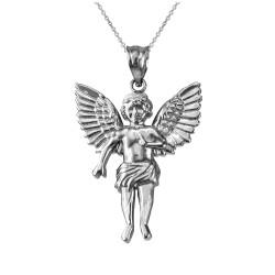 White Gold Cherub Guardian Angel Pendant Necklace (L)
