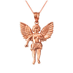 Rose Gold Cherub Guardian Angel Pendant Necklace (L)