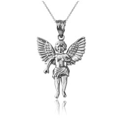 Sterling Silver Cherub Guardian Angel Pendant Necklace (S)
