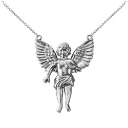 Sterling Silver Cherub Guardian Angel Necklace (L)