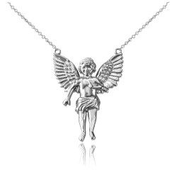 14K White Gold Cherub Guardian Angel Necklace (S)