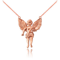 14K Rose Gold Cherub Guardian Angel Necklace (S)