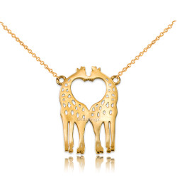 14K Yellow Gold Open Heart Kissing Giraffes Necklace