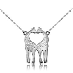 14K White Gold Open Heart Kissing Giraffes Necklace