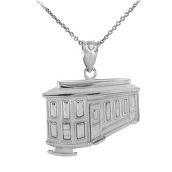 White Gold San Francisco Cable Car Charm Necklace