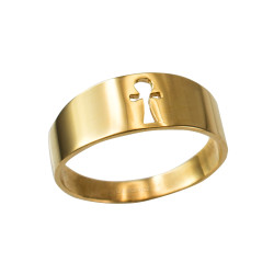 Polished Yellow Gold Egyptian Ankh Ring Band