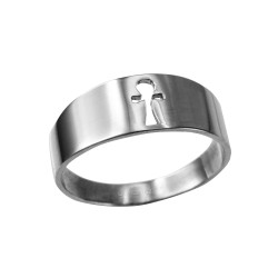 Polished White Gold Egyptian Ankh Ring Band