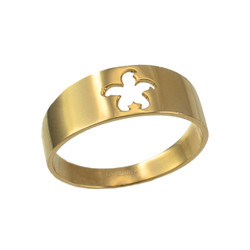 Polished Yellow Gold Starfish Cut-out Ring Band