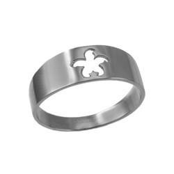 Polished White Gold Starfish Cut-out Ring Band