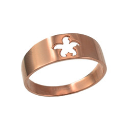 Polished Rose Gold Starfish Cut-out Ring Band